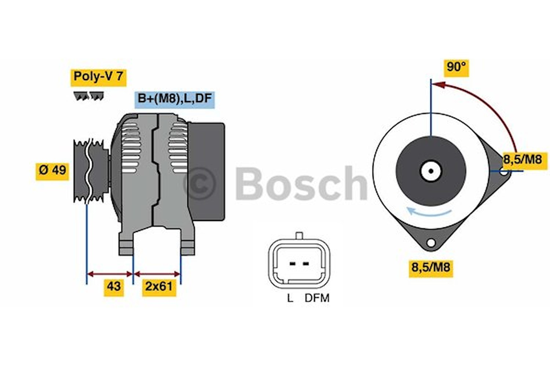Generator utbytes 14V/125A