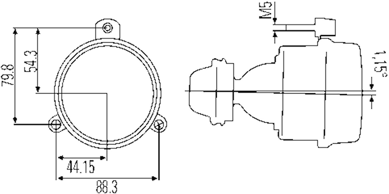 Dimstrålk 12V DE H3 80mm Ø