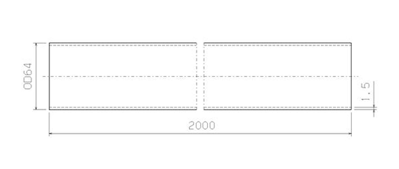 Stålrör 64 mm x 2000 mm