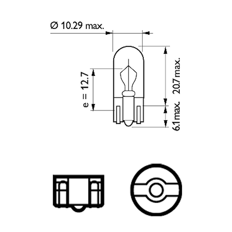 Glödlampa 12V 2W W2,1x9,5d
