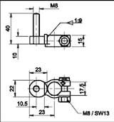 Batteripolsko enkel f. CF-säkr