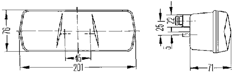 Bak-/broms-/blinkl hö 201x76mm