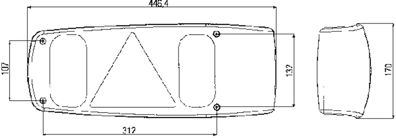 Bakl hö 12V 446x170mm m reflex