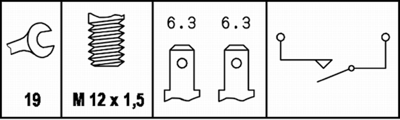 Backljuskontakt M12x1,5 flatst