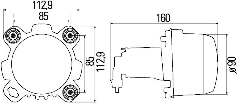 Halvljusstrålk 12V DE H1 90mm