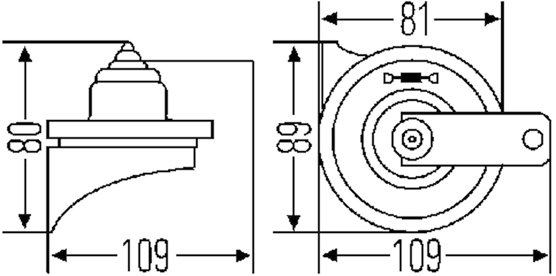 Fanfarhorn-sats 12V 400/500Hz