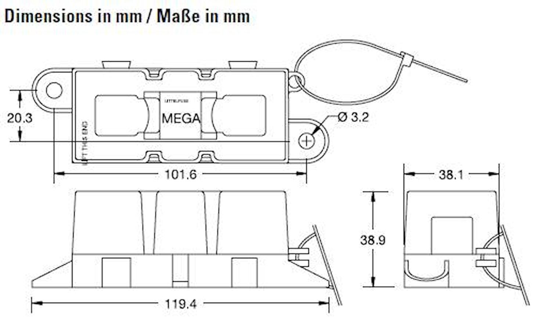 Säkringshållare BF2/MEGA, 51mm