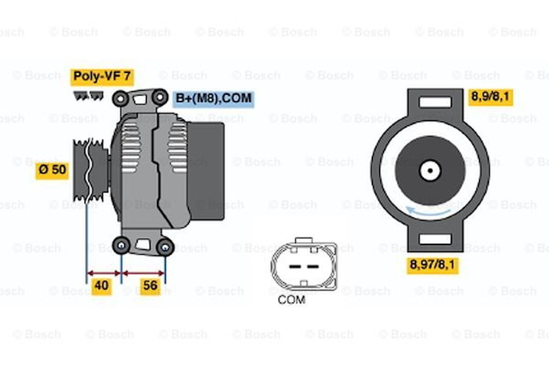 Generator utbytes 12V/220A