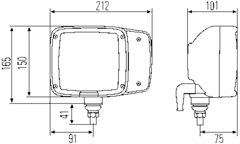 Strålk vä 24V H7/H3 f påbyggn