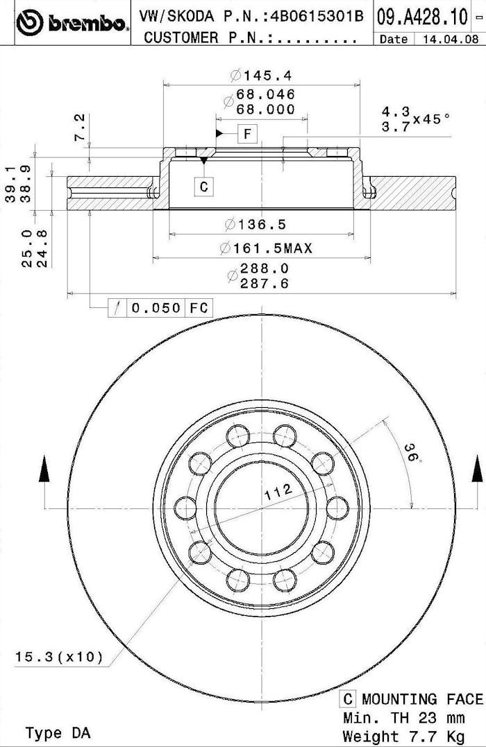 Bromsskiva ers 91-09.A428.14