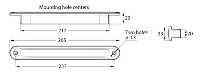 Flushbelysn 12V LED vit 265mm