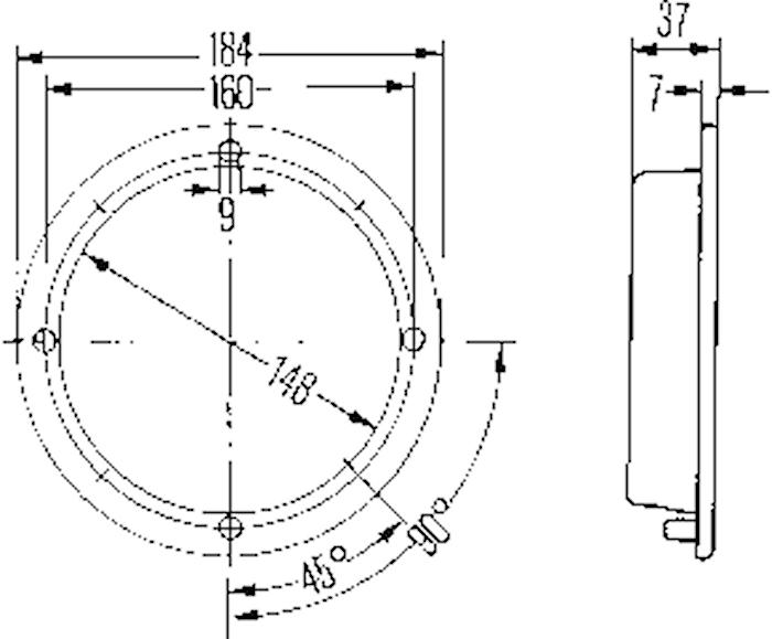 Innerbelysn 184mm Ø f inbyggn
