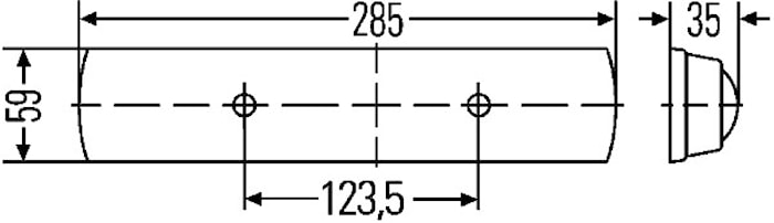 Lysrörsarmatur 24V 9W 285x59mm