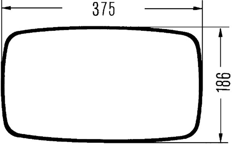Ytterspegel 375x186mm svart