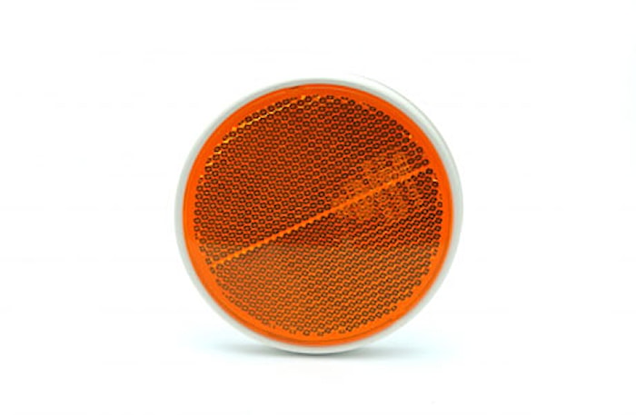 Reflex gul 84mm Ø plastbaksida