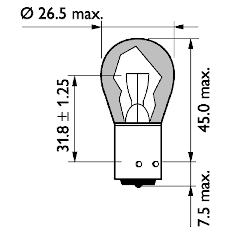 Glödlampa 24V 21W BAU15s gul