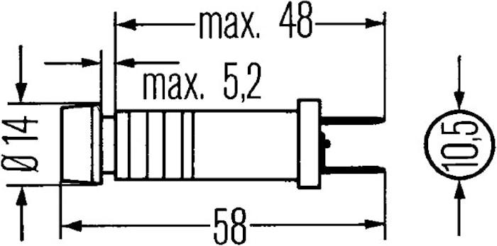 Kontrollampa 12V m 4 glas14mm