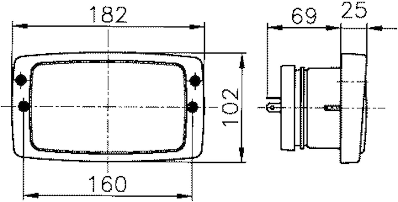 Strålk H4 182x102mm u park