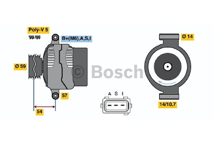 Generator utbytes 14V/95A