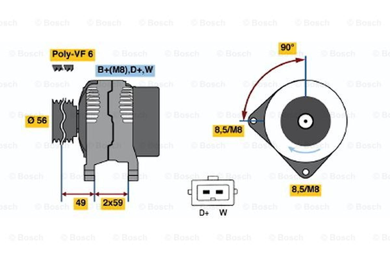 Generator utbytes 14V/70A