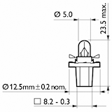 Glödlampa 12V 2W BAX8,5d/2