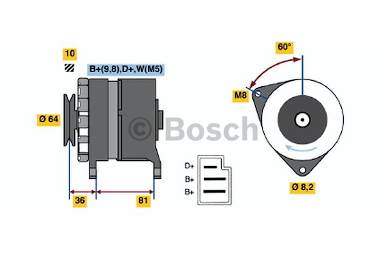 Generator utbytes 14V/45A