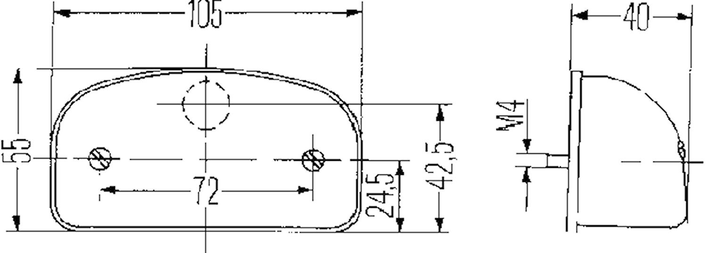Reg.skyltbelysn 105x55mm svart