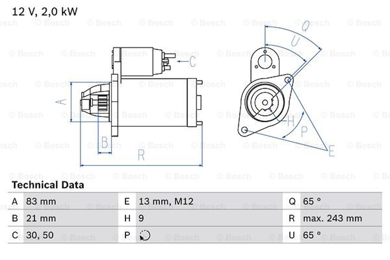 Startmotor utbytes 12V/2kW