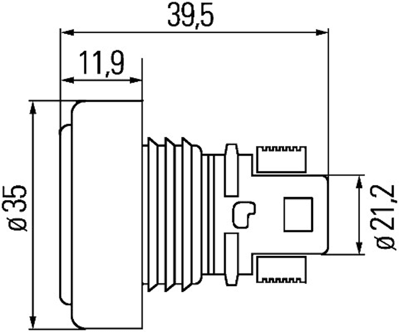 Pos.lykta 24V LED vit 35mm Ø