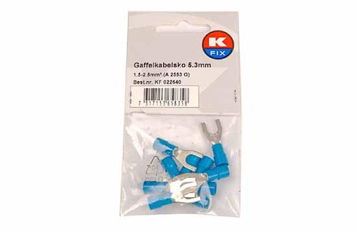 Gaffelkabelsko 5,3mm blå