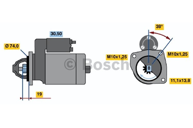 Startmotor utbytes 12V/0,85kW