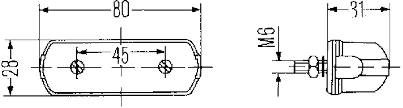 Reg.skyltbelysn 80x28mm svart