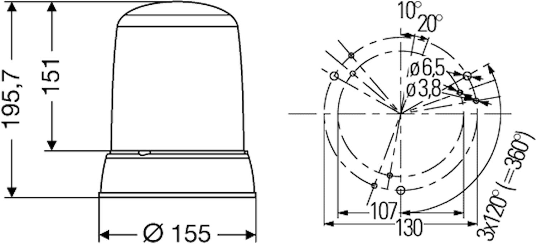 Blixtfyr 12V gul KLX 7000 F