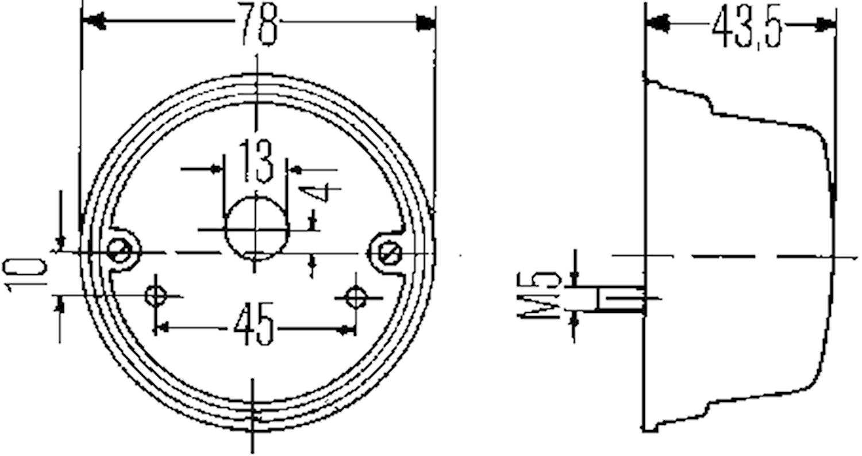 Bak-/bromsl 78mm Ø f påbyggnad