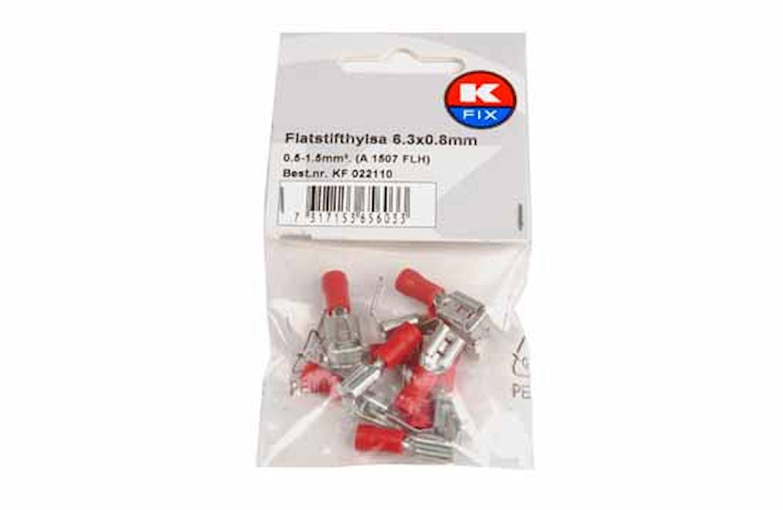 Flatstifth. FLH 6,3x0,8mm röd