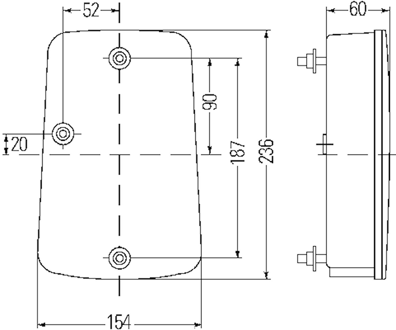 Bakl vä 12V 154x236mm m reflex