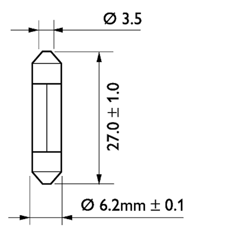 Glödlampa 24V 3W SV6