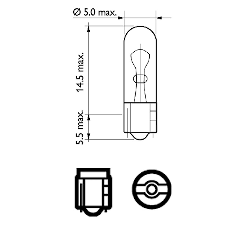 Glödlampa 12V 1,2W W2x4,6d
