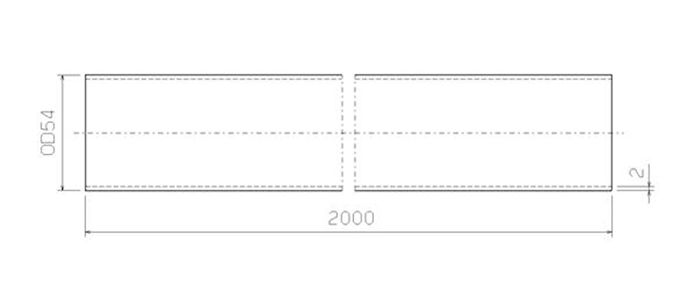 Stålrör 54 mm x 2000 mm