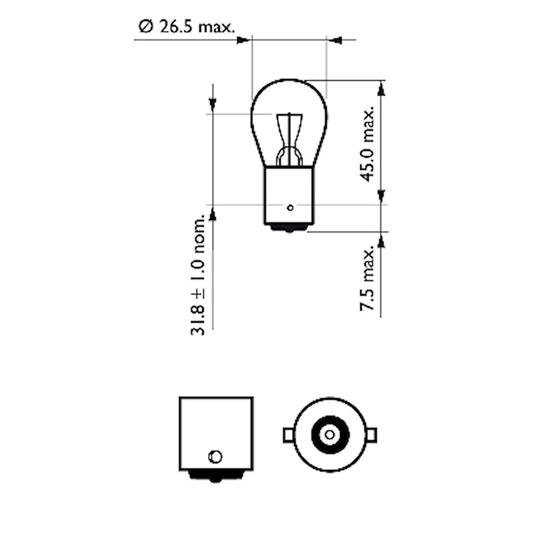 Glödlampa LL 12V 21W BA15s