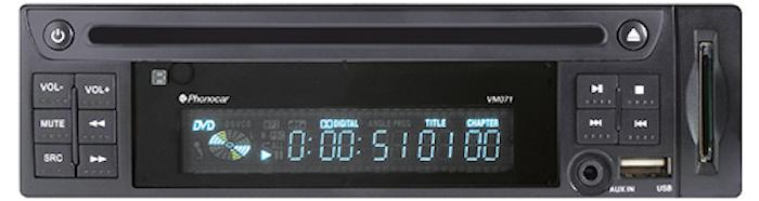 DVD-spelare, 1-DIN, 12/24 Volt