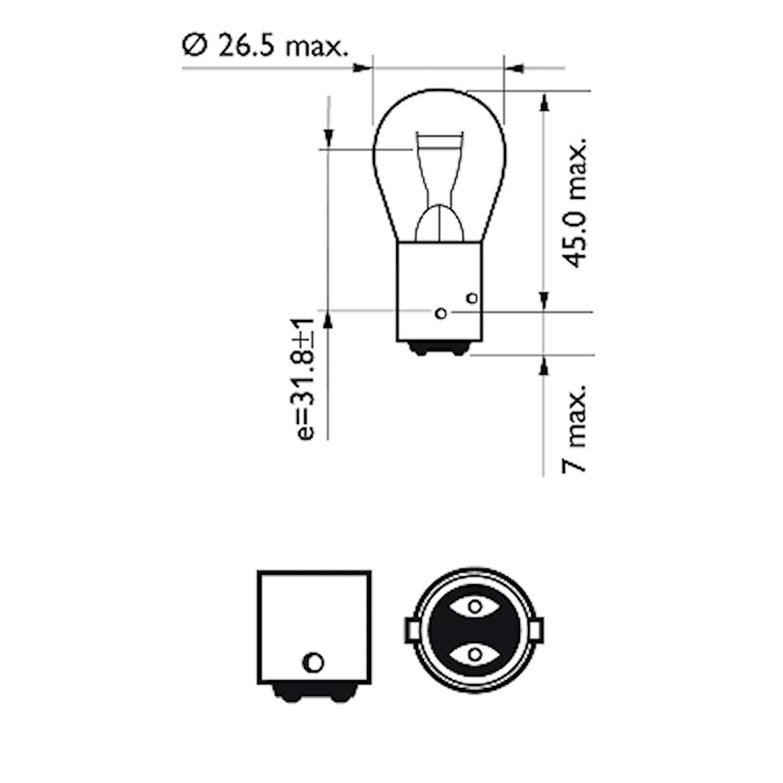 Glödlampa 12V 21/4W BAZ15d