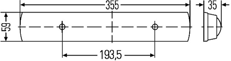Lysrörsarmatur 12V 11W 355x59