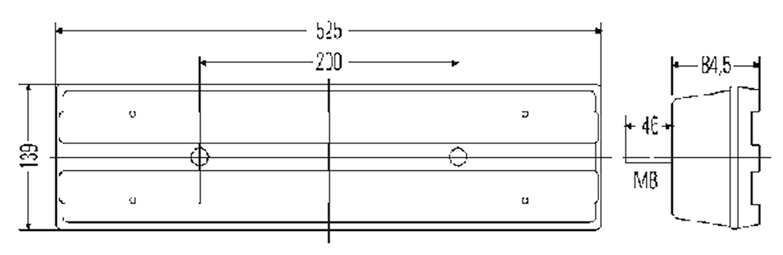 Bakl vä 24V 525x139mm m reflex