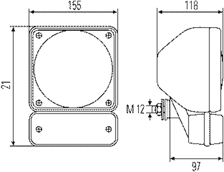 Strålk H4 f påbyggn 155x155mm