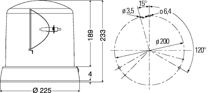 Varningsfyr 12V gul KL 8000 F