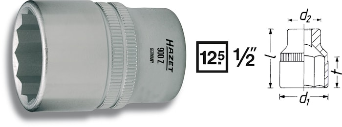 """Hylsa 12 kant 14 mm 1/2"""""""