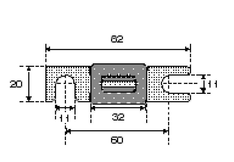 Säkringsbleck m.hus 60mm,275 A