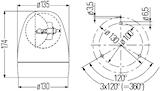 Varningsfyr 12V gul Rotafix F