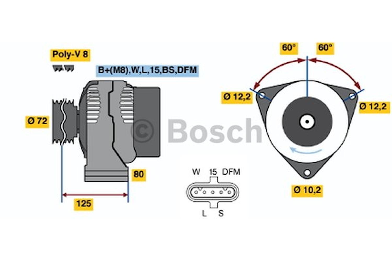 Generator utbytes 28V/80A